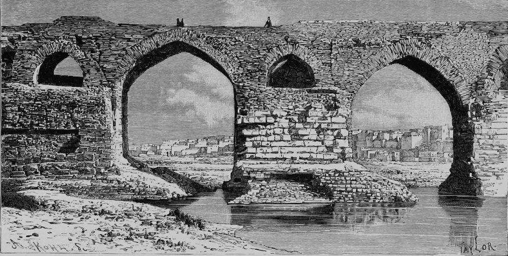 """Taylor, T.; Kohl, A. (1884): Pont de Dizfoul (""""Die Brücke von Dezfūl"""")."""