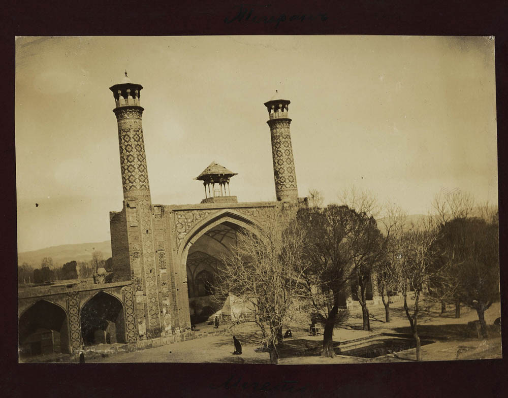 Army general Konstantin Gilchevsky was stationed in the Caucasus, Turkey and Iran from 1889 to 1899, and took photographs of everyday life. Here we see the Shah Mosque (مسجد شاه), also known as the Soltāni Mosque (مسجد سلطانی) in Tehran, Iran. Courtesy of the Zolotarev Collection.